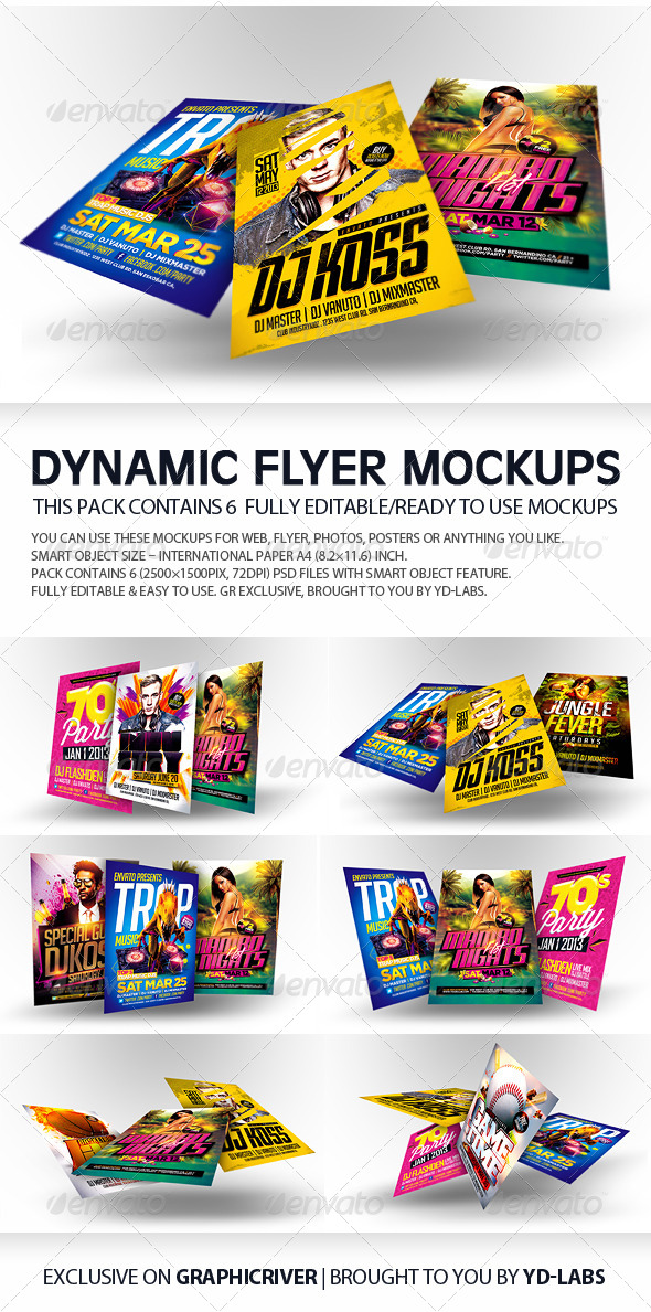 GraphicRiver Dynamic Flyer Mockups 5393419