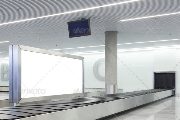 Blank billboard or poster on airport - Stock Photo - Images