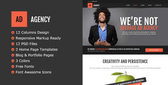 AdAgency PSD Template