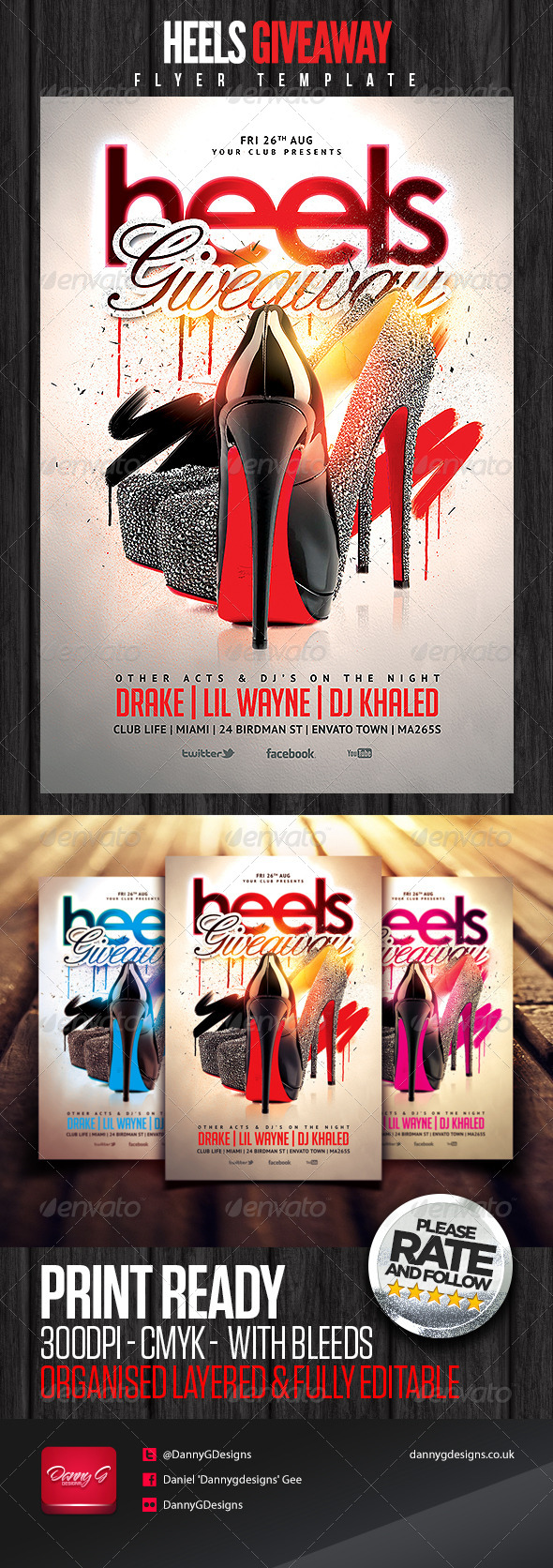 Heels Giveaway Flyer Template - Clubs & Parties Events