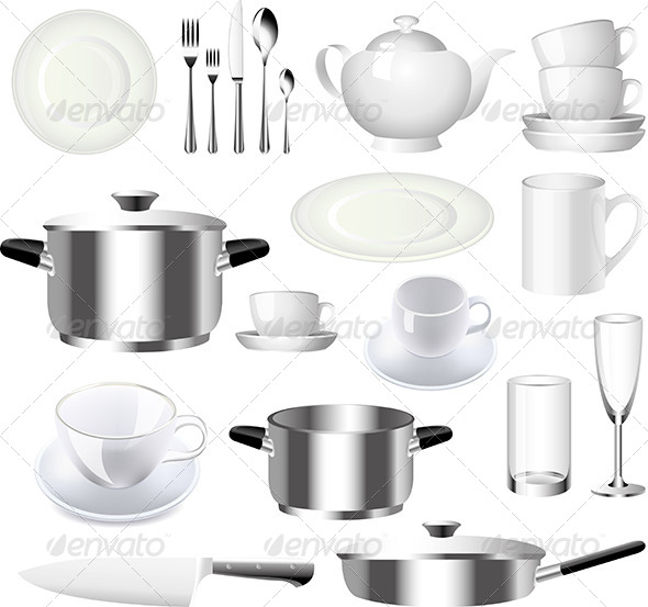 GraphicRiver Crockery and Kitchenware Vector Set 5453860