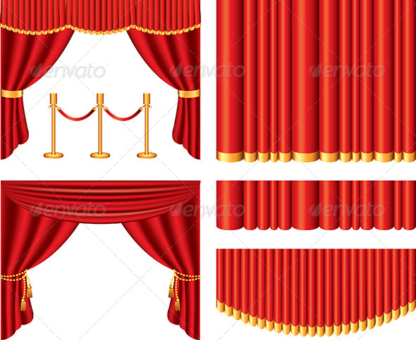 GraphicRiver Red Theater Curtains Vector Set 5453863