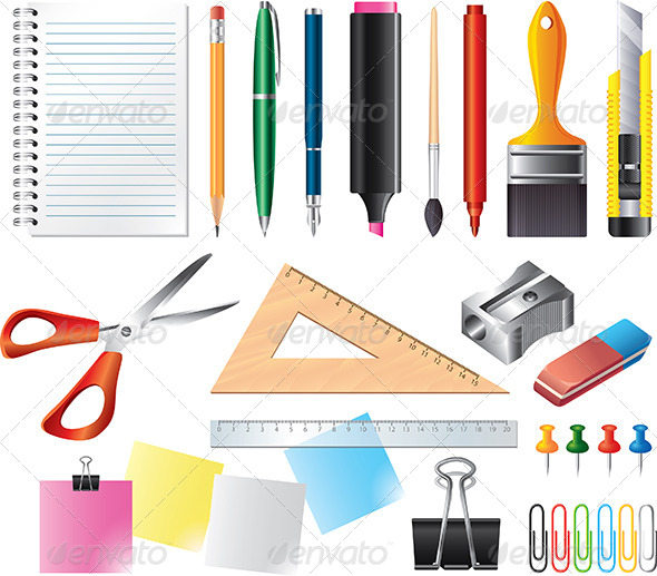 GraphicRiver Drawing and Office Tools Vector Set 5453877