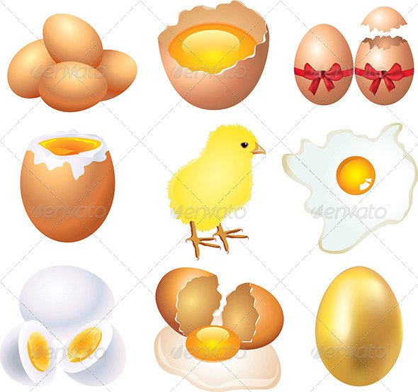 GraphicRiver Different Conditions of Eggs Vector Set 5453879