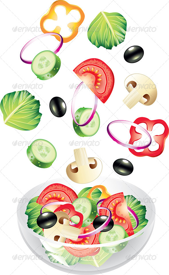 GraphicRiver Flying Vegetables and Salad 5453999