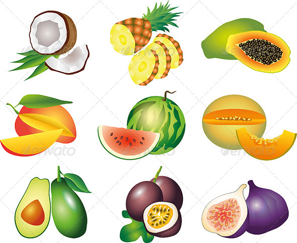 GraphicRiver Exotic Fruits Vector Set 5454001