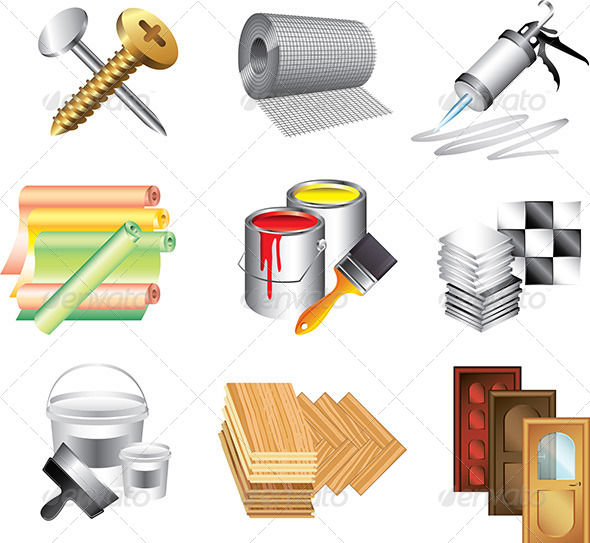 GraphicRiver Building Materials Icons Vector Set 5454312