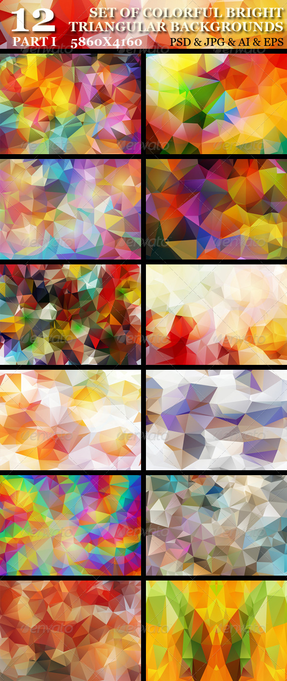 GraphicRiver Set of 12 HD Colorful Triangular Backgrounds 5454544