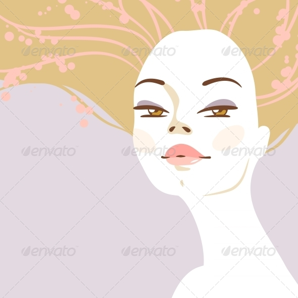 Vector Portrait of Beautiful Blonde Woman