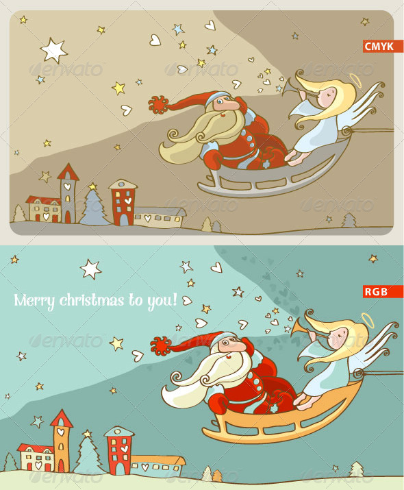 GraphicRiver Santa Claus and an Angel in a Sleigh 5454762