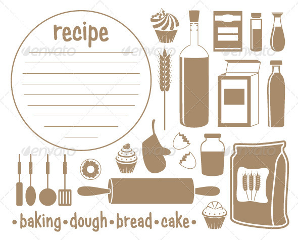 GraphicRiver Set of Products for Baking Recipe 5454815