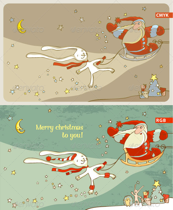 GraphicRiver Santa Claus and White Hare Christmas Card 5454816