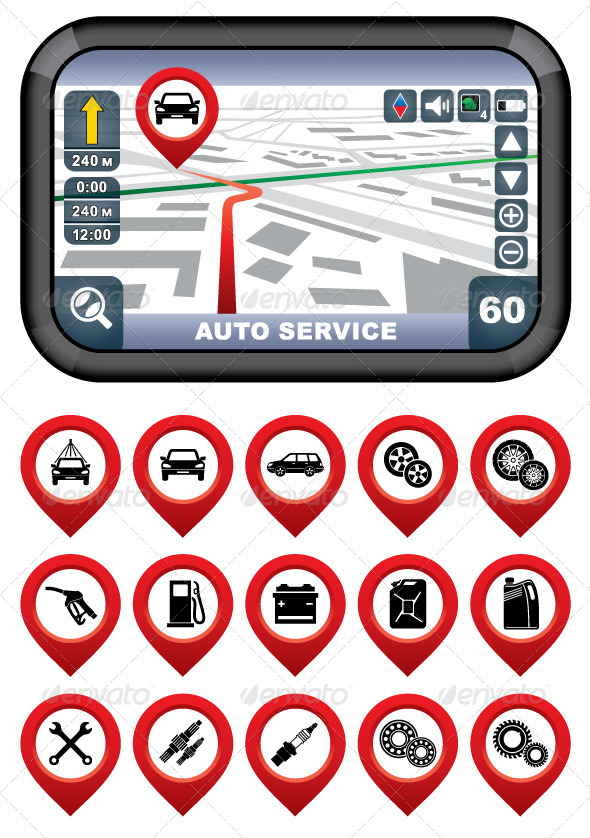 GraphicRiver GPS Navigator with Auto Service Pointer 5454880