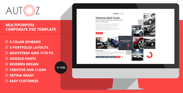 AutoZ - Multipurpose Corporate PSD Template - Corporate PSD Templates