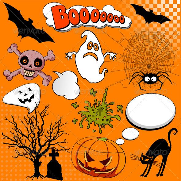 GraphicRiver Halloween Comic Elements 5455066