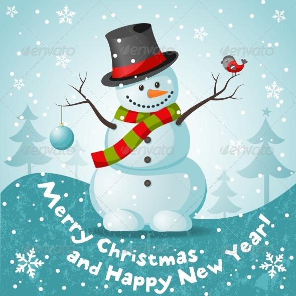GraphicRiver Vector Snowman 5455121