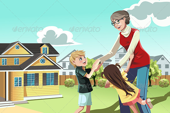 GraphicRiver Grandmother Playing with Grandchildren 5455122