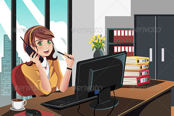 GraphicRiver Businesswoman Working in the Office 5455126