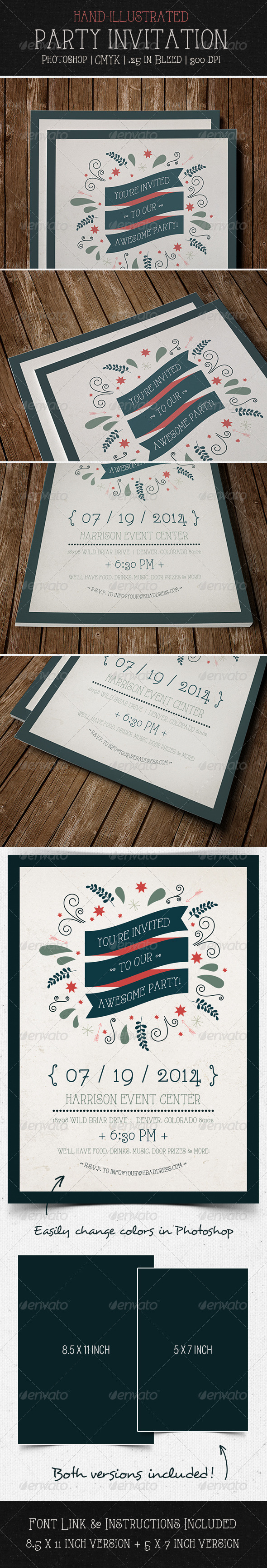 GraphicRiver Party Invitation Flyer Postcard 5455261