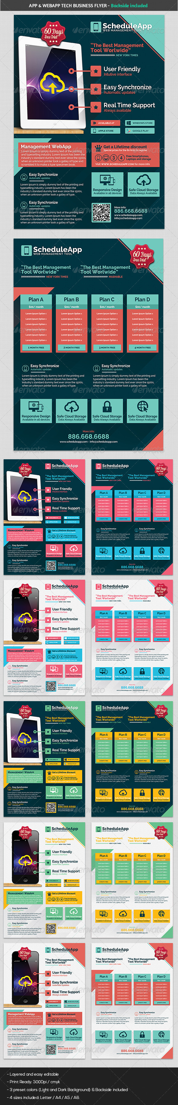 GraphicRiver Web App & Technology Flat Design Business Flyer 5455842