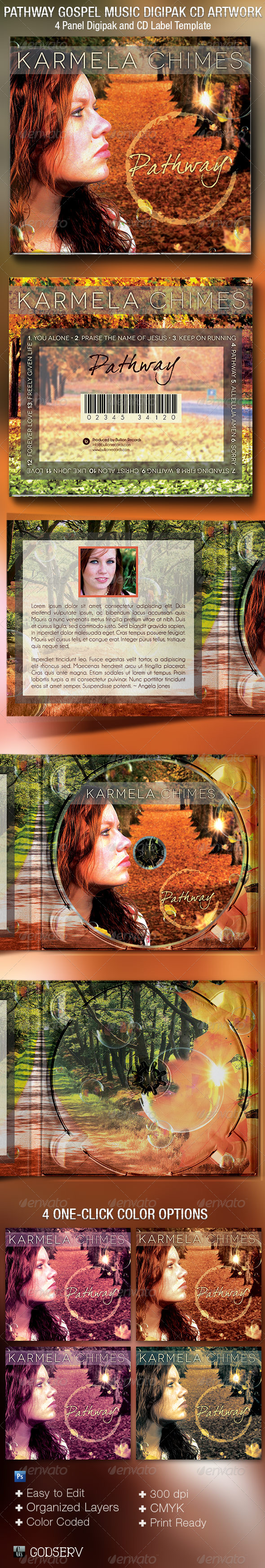 GraphicRiver Pathway Gospel Music 4 Panel Digipak CD Template 5456606