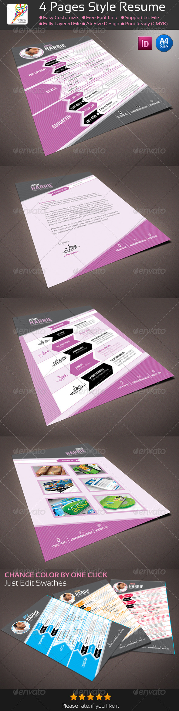 GraphicRiver 4 Pages InDesign Style Resume CV 5456610