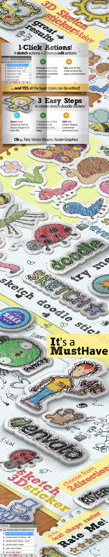 GraphicRiver Sketch Doodle Sticker Photoshop Action 5456725