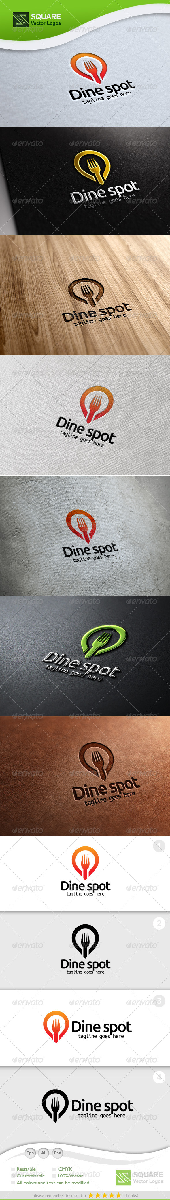 Fork, Locator Vector Logo Template - Food Logo Templates