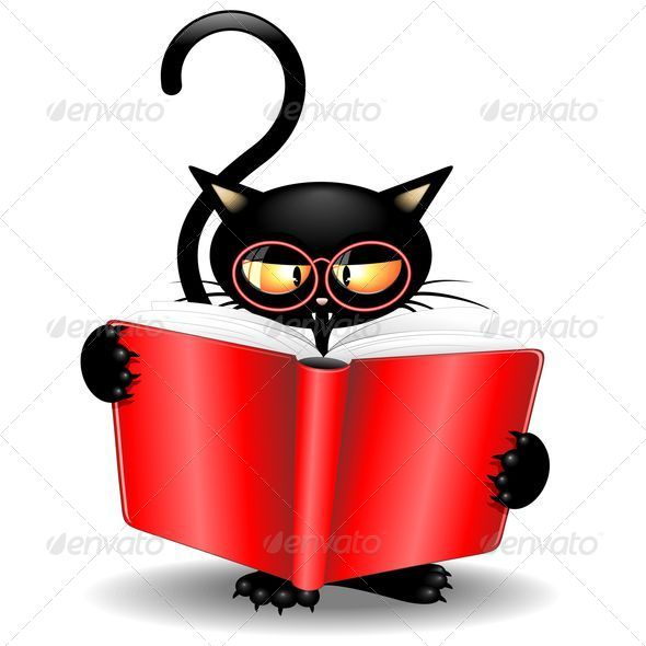 GraphicRiver Black Cat Cartoon Back to School with a Book 5458465