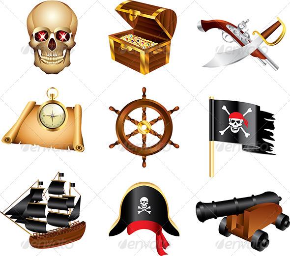 GraphicRiver Pirates Icons Vector Set 5458596