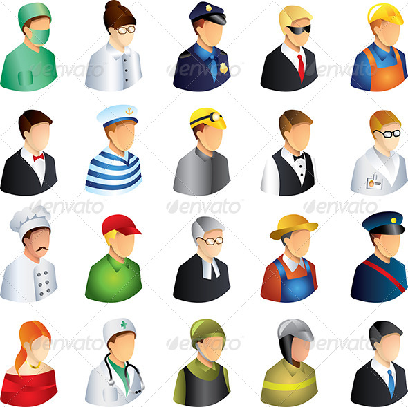 GraphicRiver People Occupations Icons Vector Set 5458598