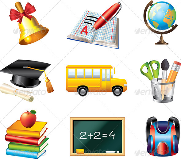 GraphicRiver School Icons Vector Set 5458604