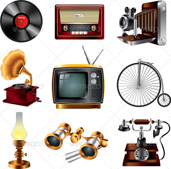 Retro Objects Icons Vector Set