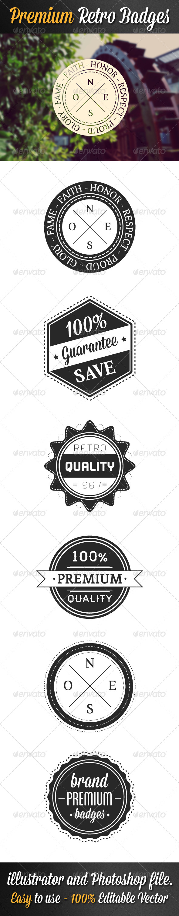 GraphicRiver Premium Retro Badges 5458776