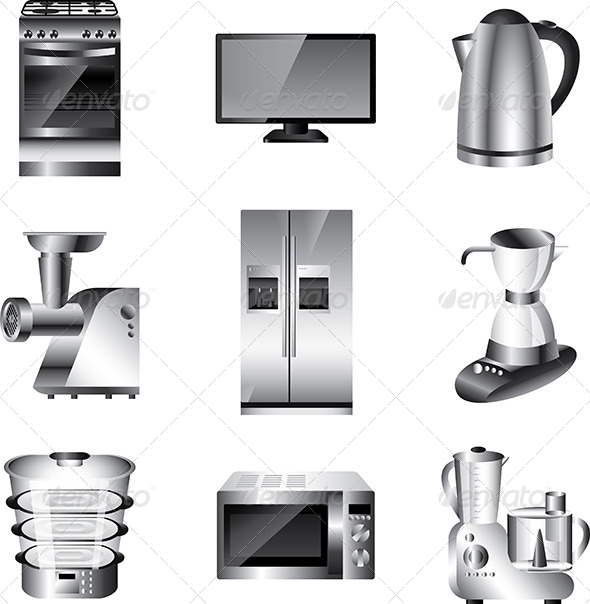 GraphicRiver Kitchen Appliances Vector Set 5458786