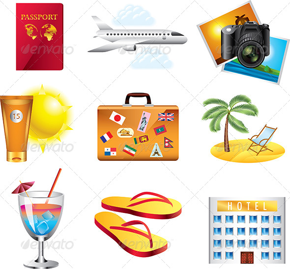 GraphicRiver Vacation and Travel Icons Set 5458794