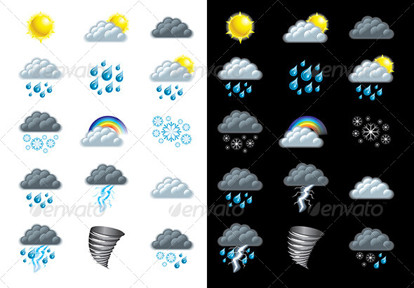 GraphicRiver Weather Forecast Icons Vector Set 5458795