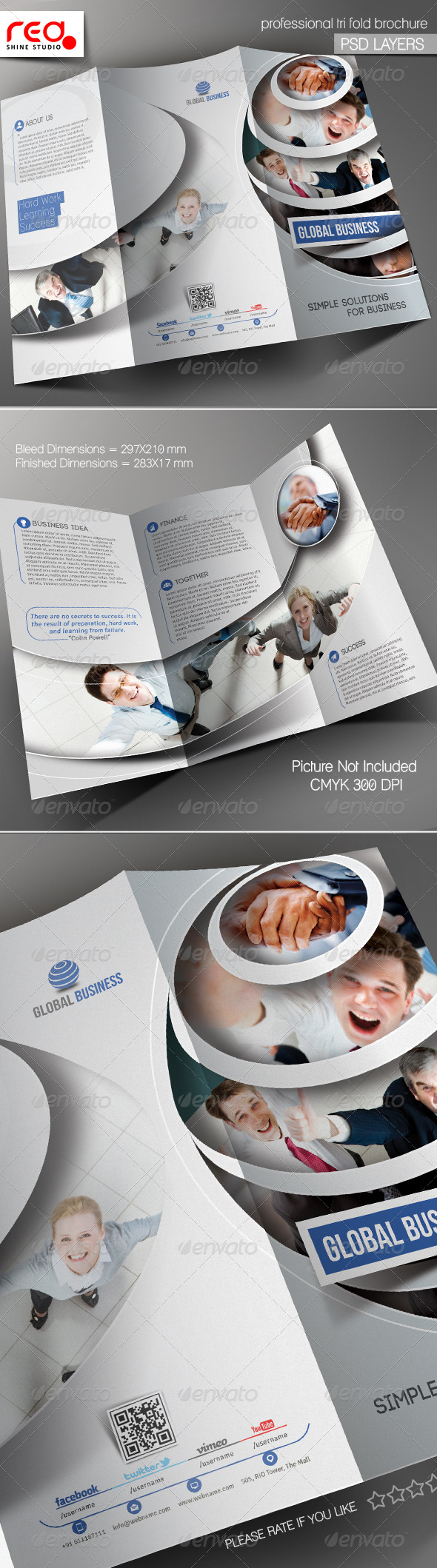 GraphicRiver Global Business Trifold Brochure Template 01 5458798