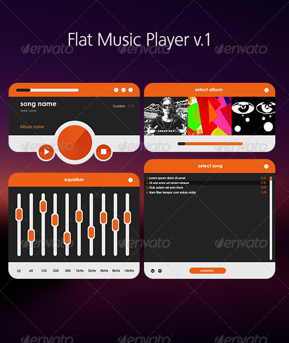 GraphicRiver Flat Music Player v1 5430278