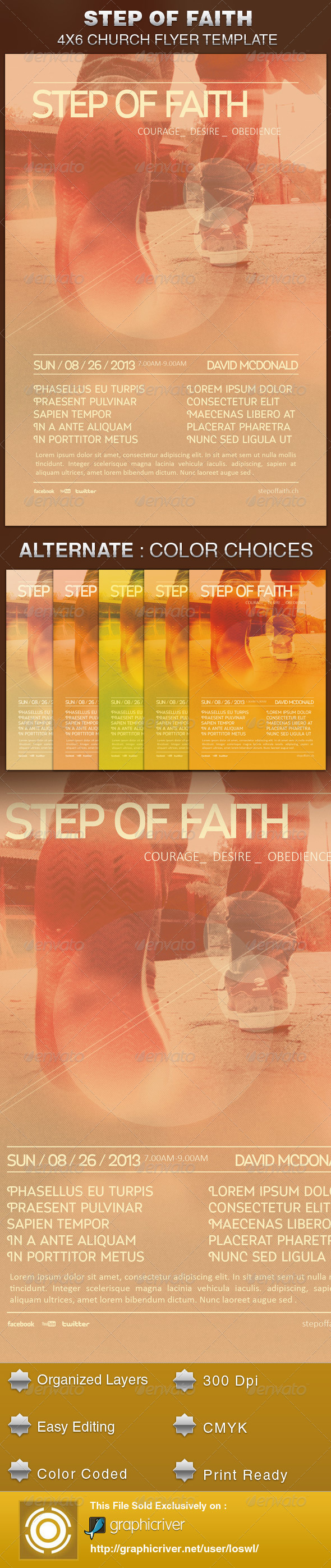GraphicRiver Step of Faith Church Flyer Template 5459097