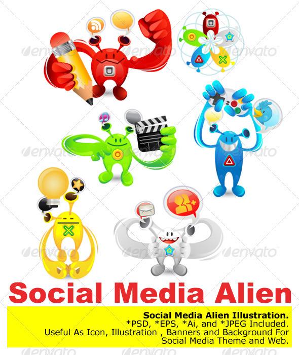 Social Media Alien - Characters Vectors