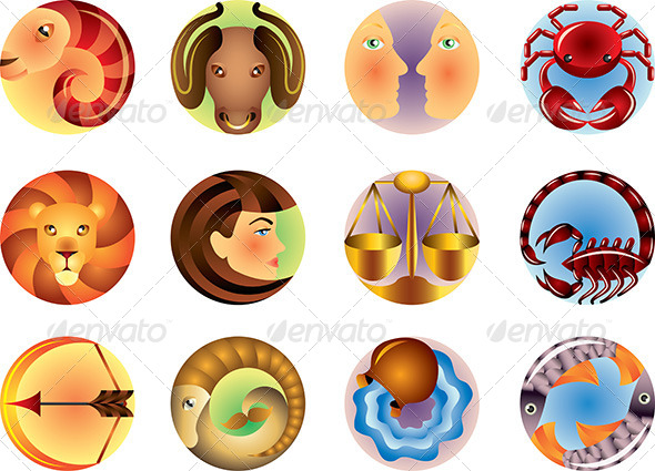 GraphicRiver Zodiac Sign Circled Vector Set 5460065