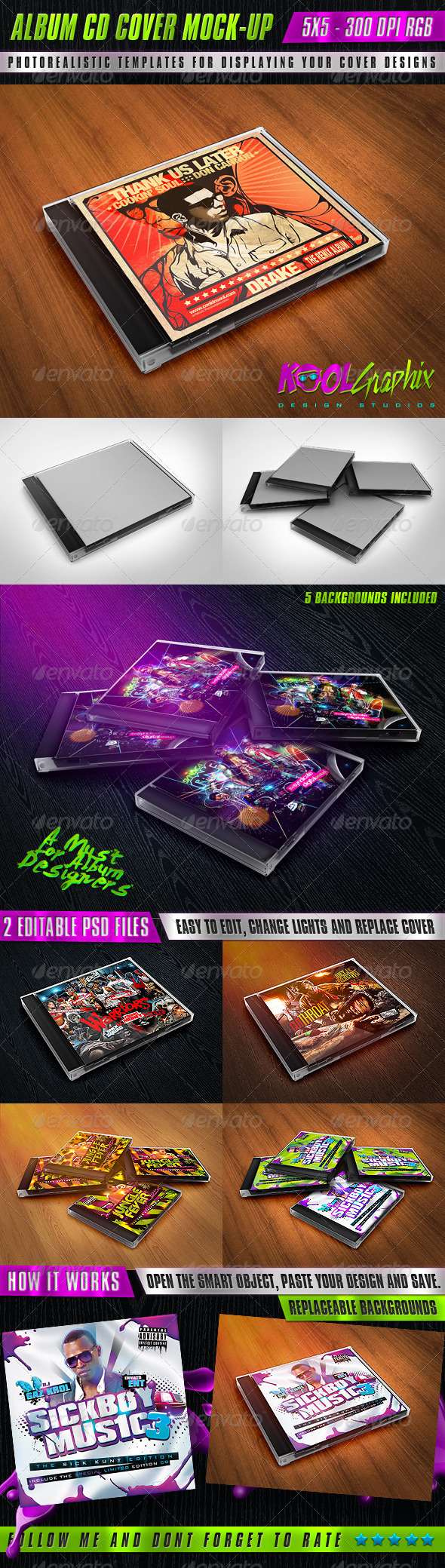 GraphicRiver Album CD Cover Mock-Ups 5460086