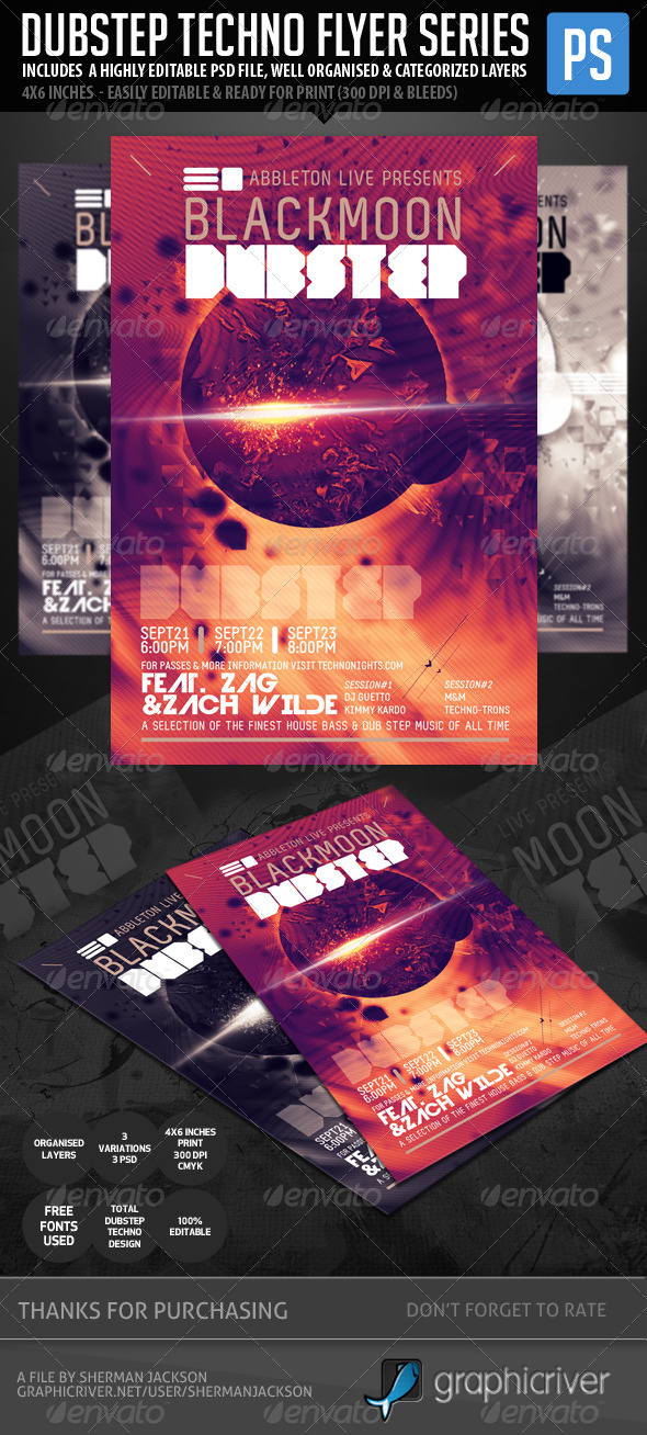Techno Dubstep Rave Club Flyer - Clubs & Parties Events