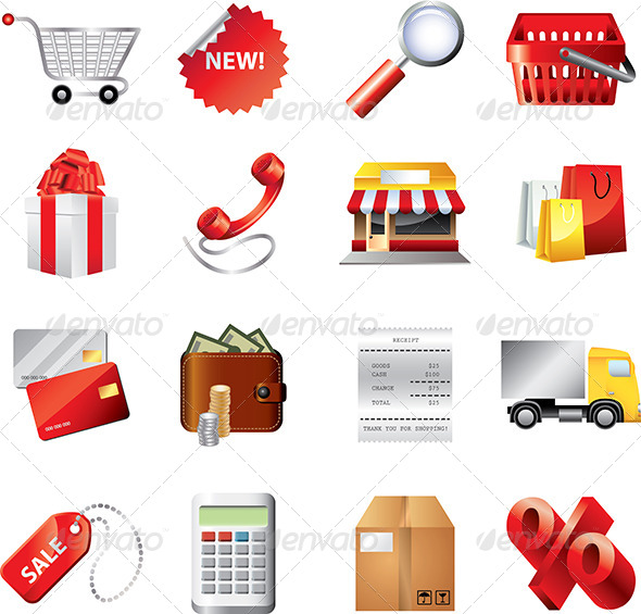 GraphicRiver Shopping Icons Detailed Vector Set 5460432