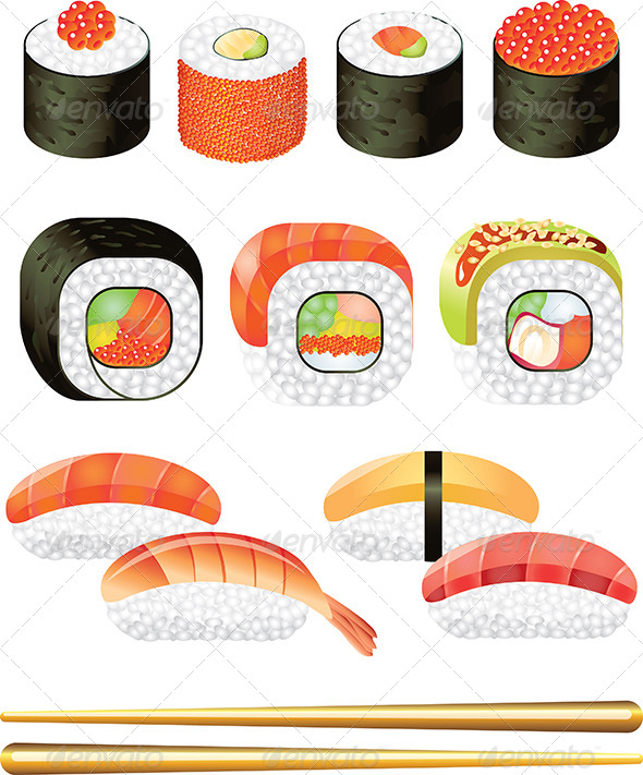 GraphicRiver Colorful Sushi Rolls Vector Set 5460438