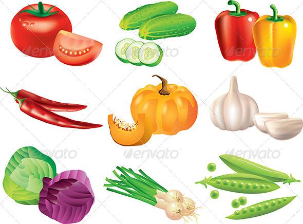 GraphicRiver Popular Vegetables Vector Set 5460559