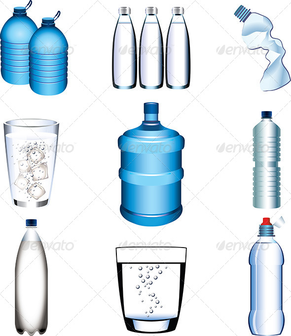 GraphicRiver Water Bottle and Glasses Vector Set 5460560