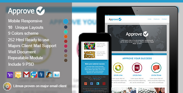ThemeForest Approve Responsive E-mail Templates 5460681