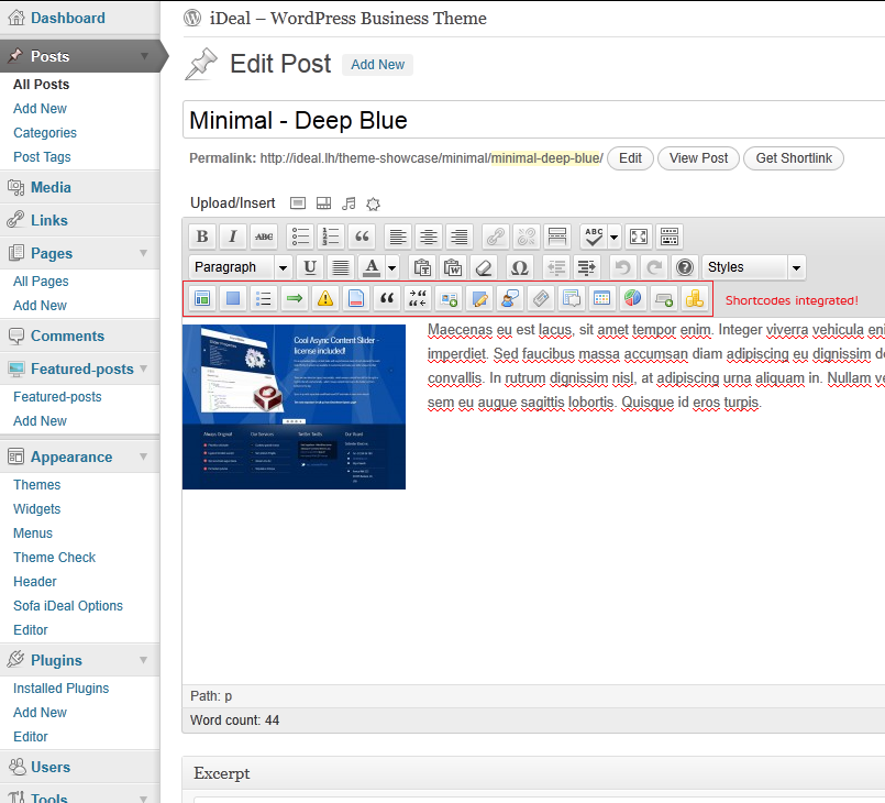 Sofa iDeal - WP Business - Corporate - Blog - Shortcodes are fully integrated into tinyMCE text editor.